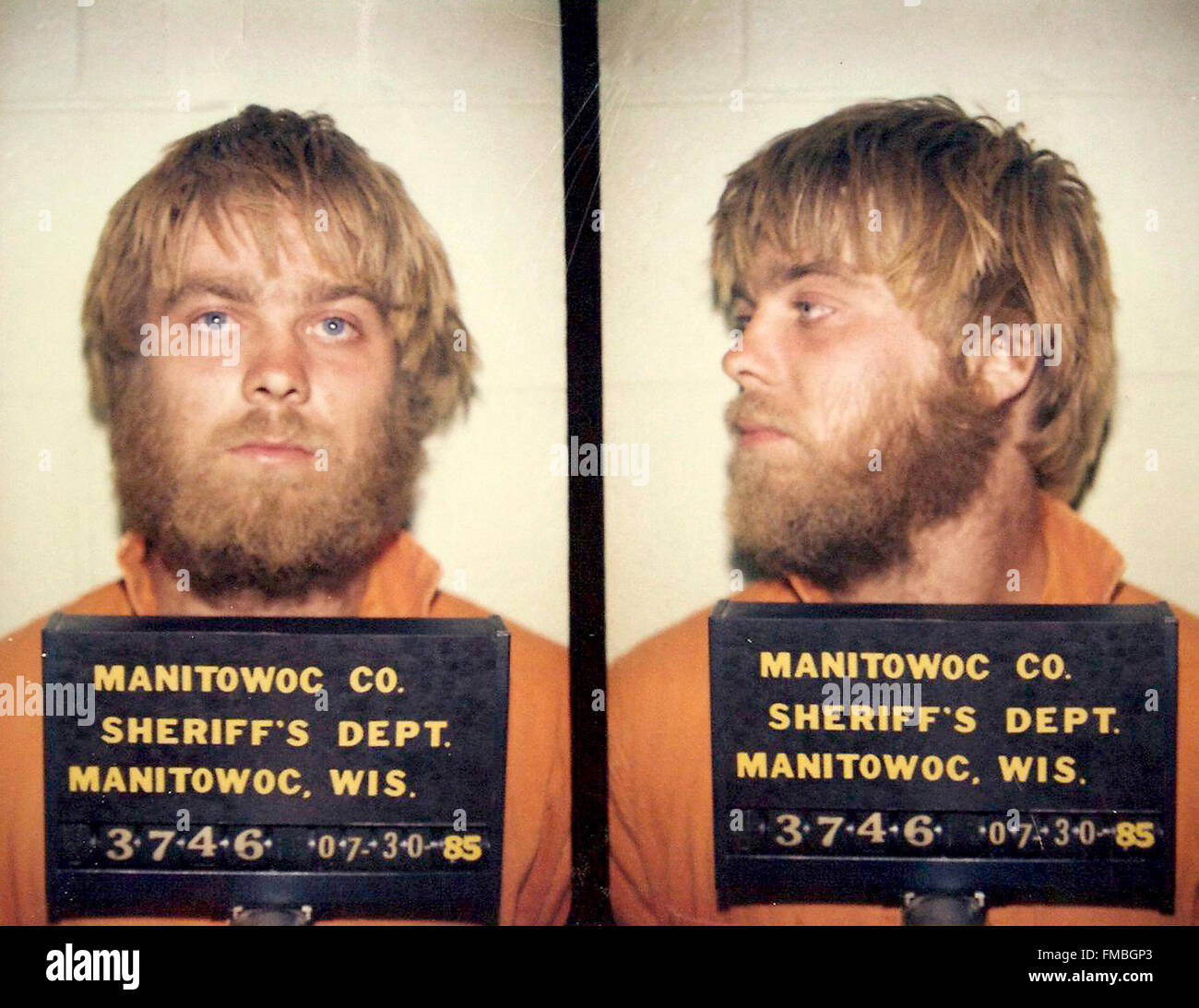 Steven Avery taken at Manitowoc Sheriff's Department on 30th July, 1985 - Stock Image