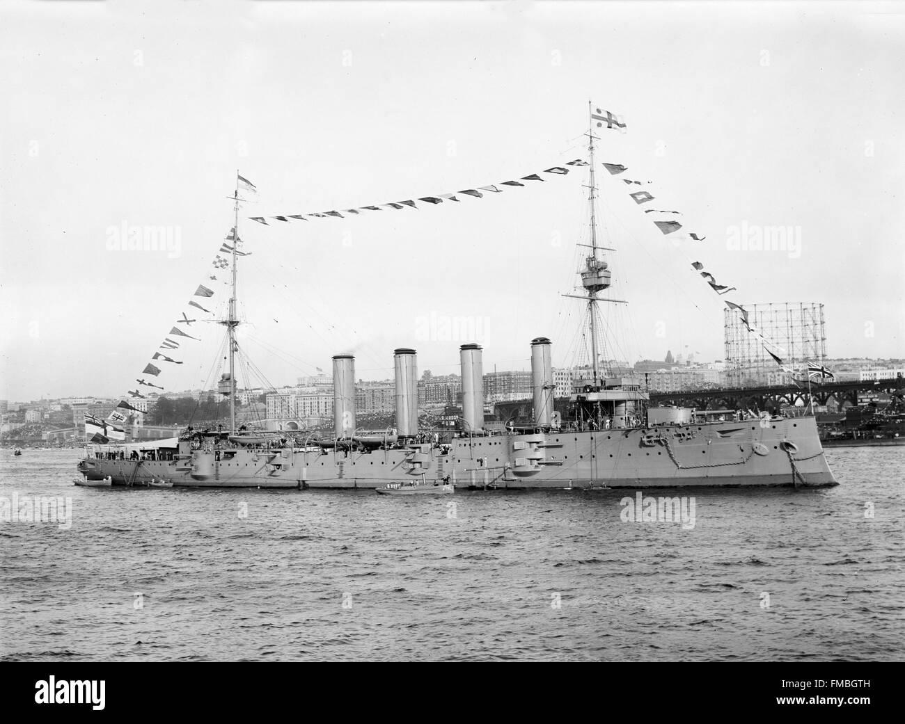 British cruiser HMS Drake - Stock Image