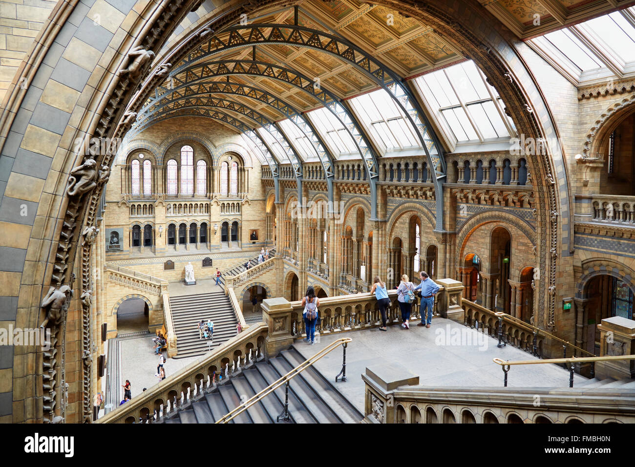 Natural History Museum interior arcade with people and tourists in London - Stock Image