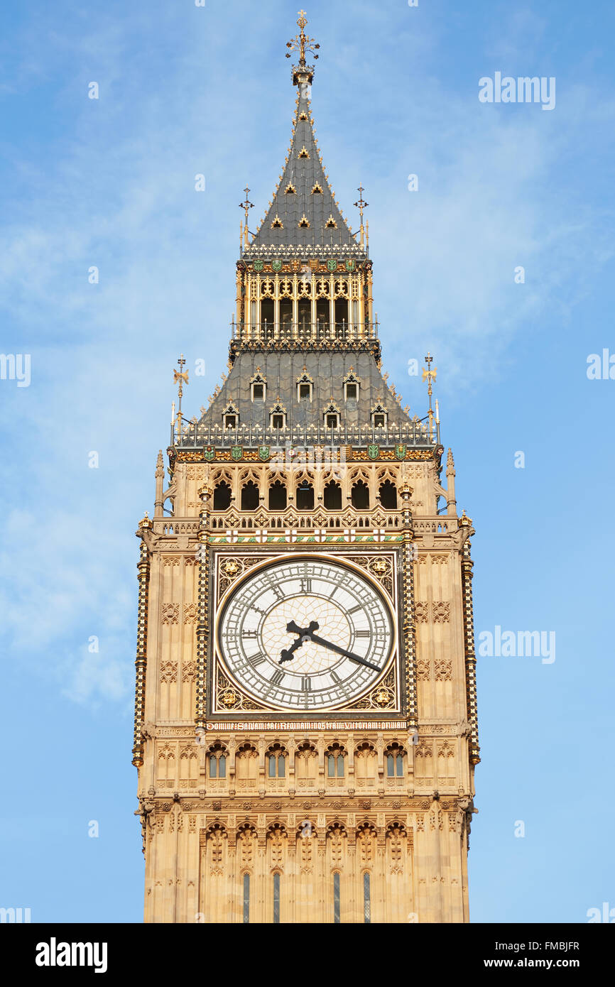 Big Ben close up in London, blue sky - Stock Image