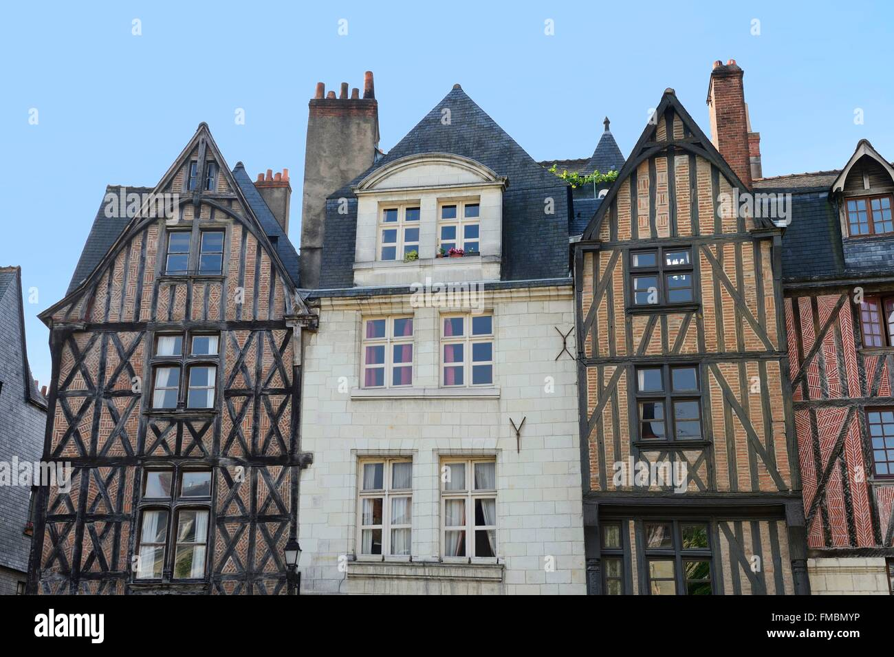 France, Indre et Loire, Tours, the old area, Plumereau square - Stock Image