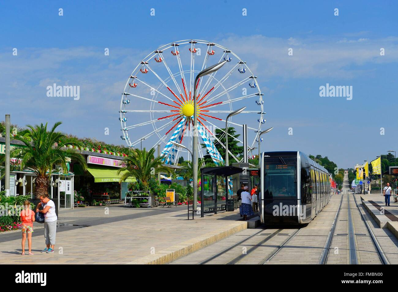 France, Indre et Loire, Tours, tramway on Nationale street - Stock Image