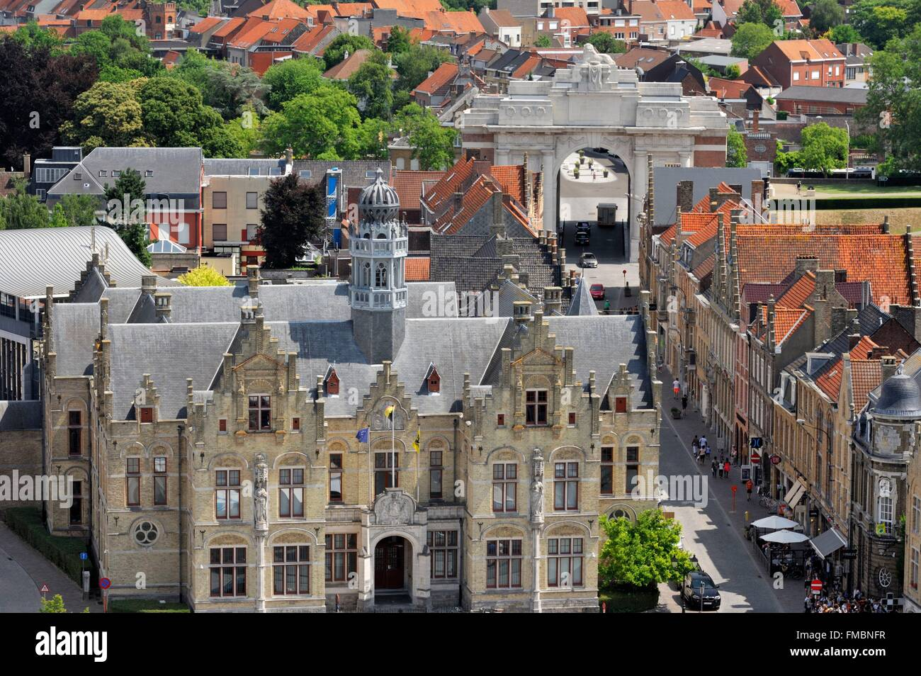 Belgium, West Flanders, Ypres or Ieper, Menin Gate seen from the belfry - Stock Image