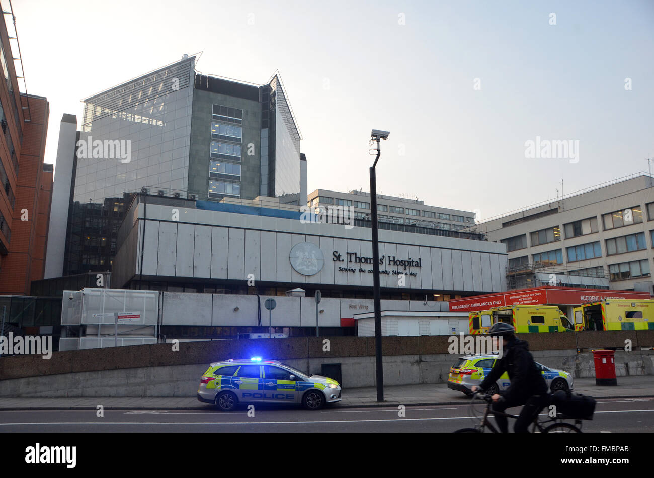 London, UK, 11 March 2016, St Thomas' Hospital on Westminster Bridge Lambeth on the south bank of the Thames - Stock Image