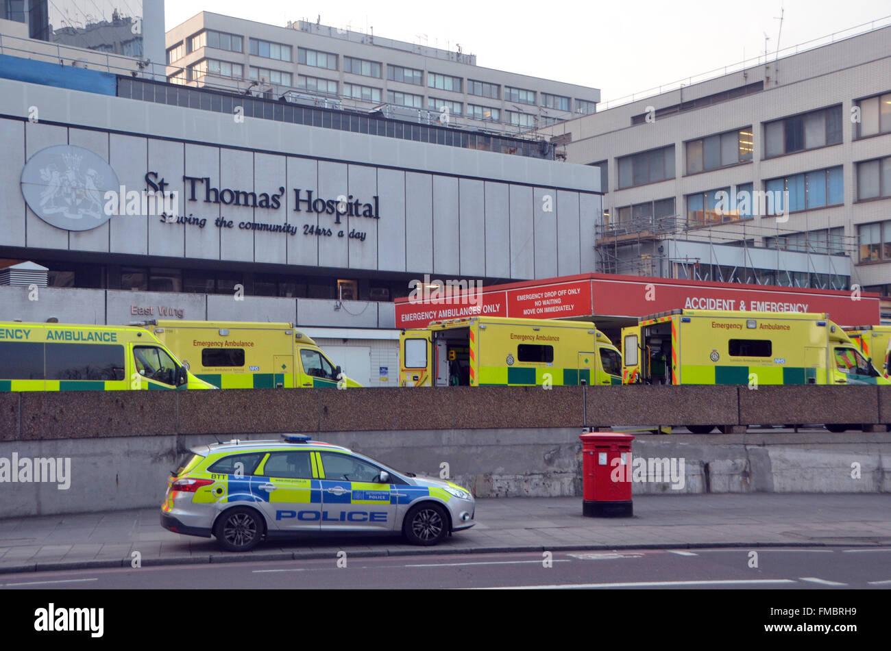 London,UK,11 March 2016,St Thomas' Hospital on Westminster Bridge Lambeth on south bank Thames facing Big Ben - Stock Image