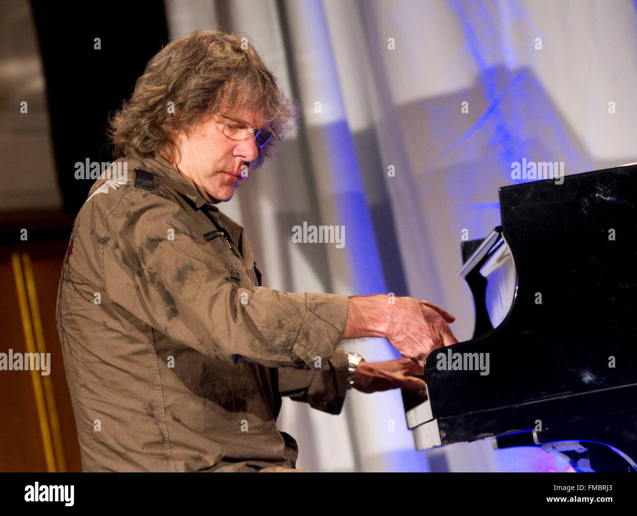 English keyboard player Keith Emerson plays the piano as he receives the Frankfurt Music Prize 2010 in Frankfurt Stock Photo