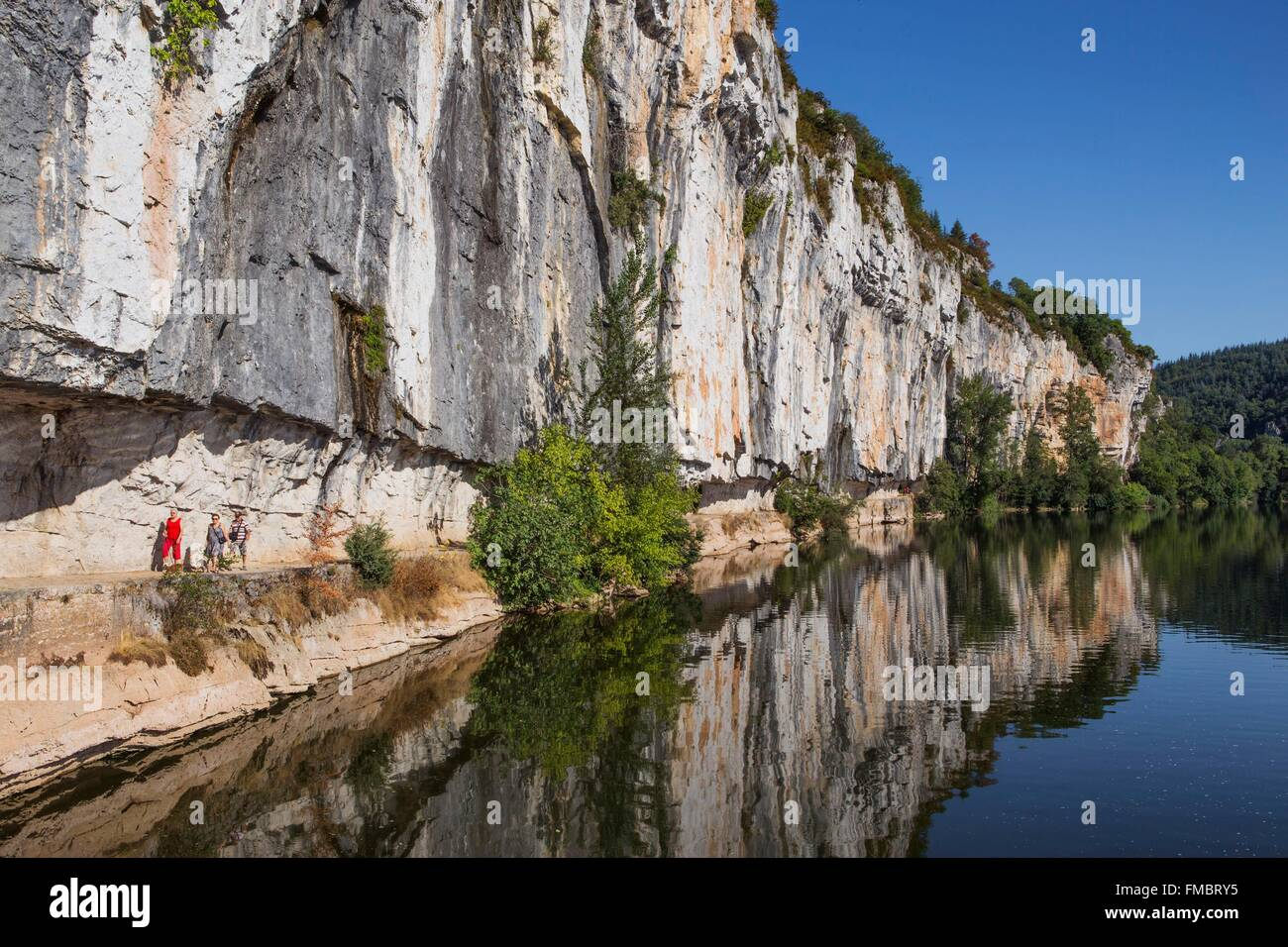 France, Lot, between Saint Cirq Lapopie and Bouzies, the Ganil towpath along the Lot river - Stock Image
