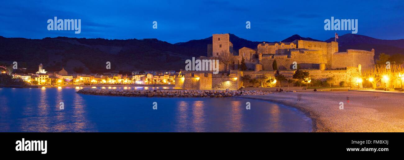 France, Pyrenees Orientales, Collioure, the Royal castle dated XIIIth century - Stock Image