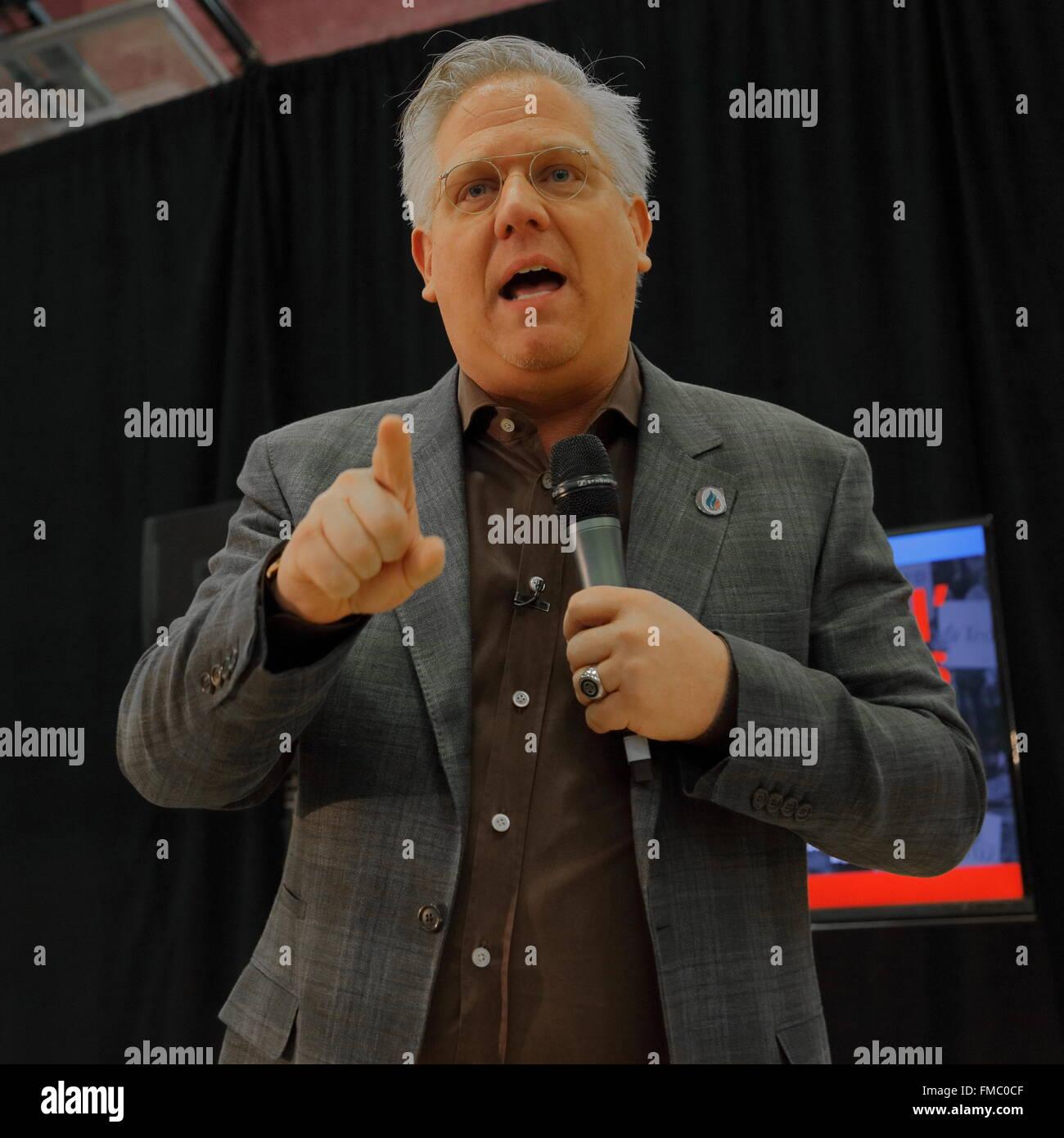Talk show host Glenn Beck introduces US Senator Ted Cruz Campaigns in Las Vegas before Republican Nevada Caucus - Stock Image