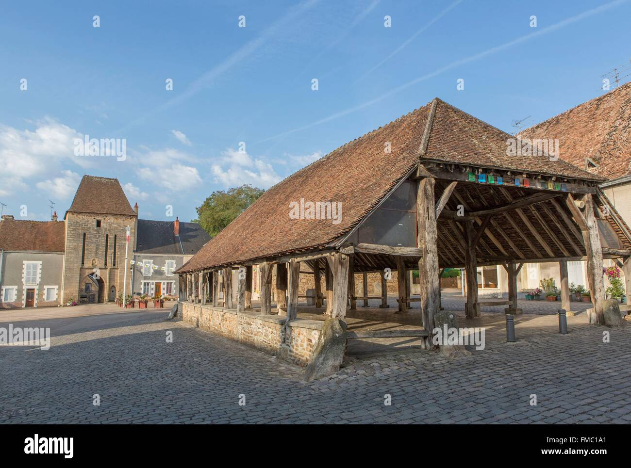 France, Indre, Sainte Severe sur Indre, filming location of Jour de Fete directed by Jacques Tati - Stock Image