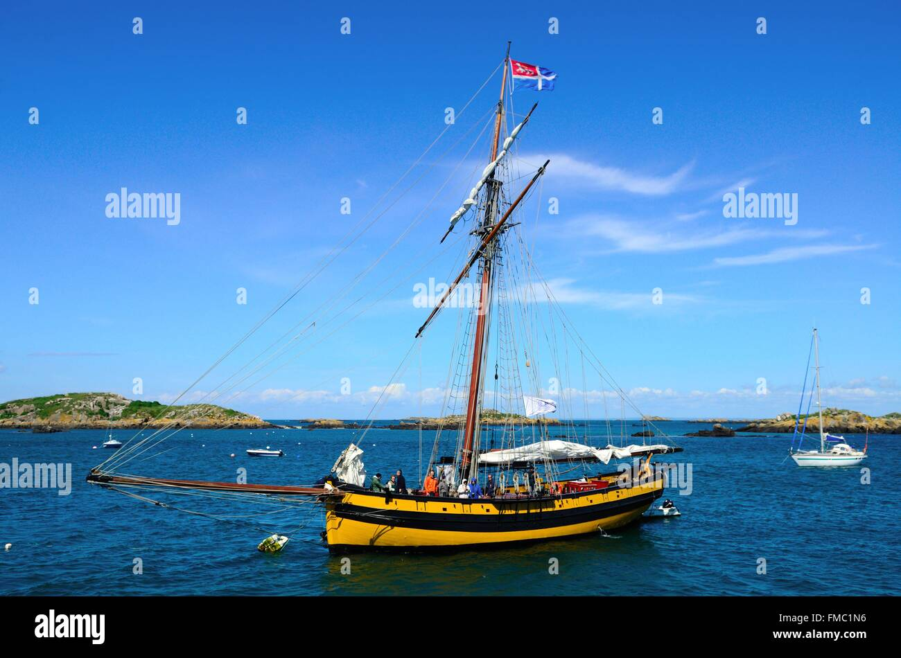 France, Manche, Chausey islands, the anchored Renard - Stock Image