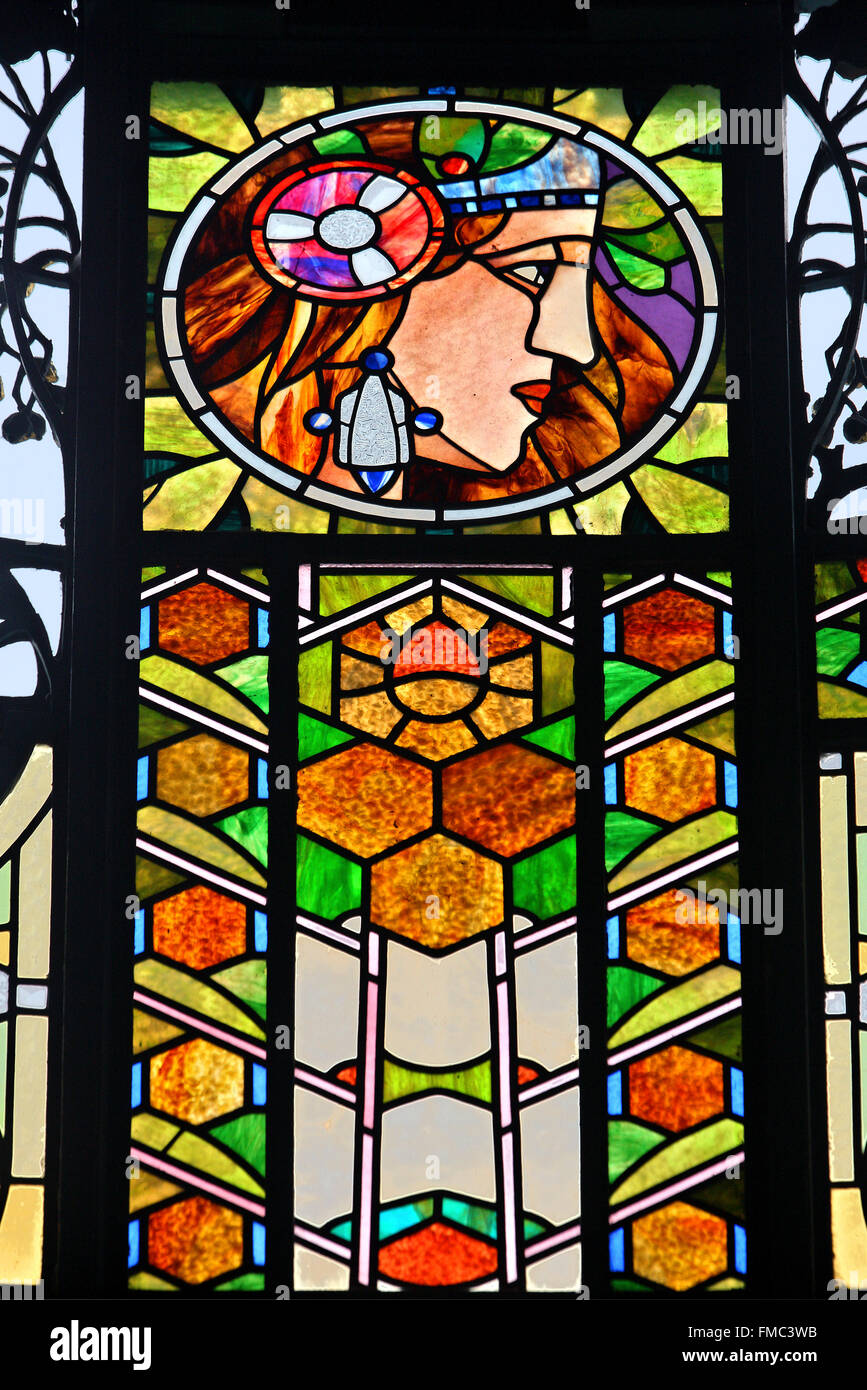 Stained Glass Window By Alfons Mucha In The Municipal House Prague Stock Photo Alamy