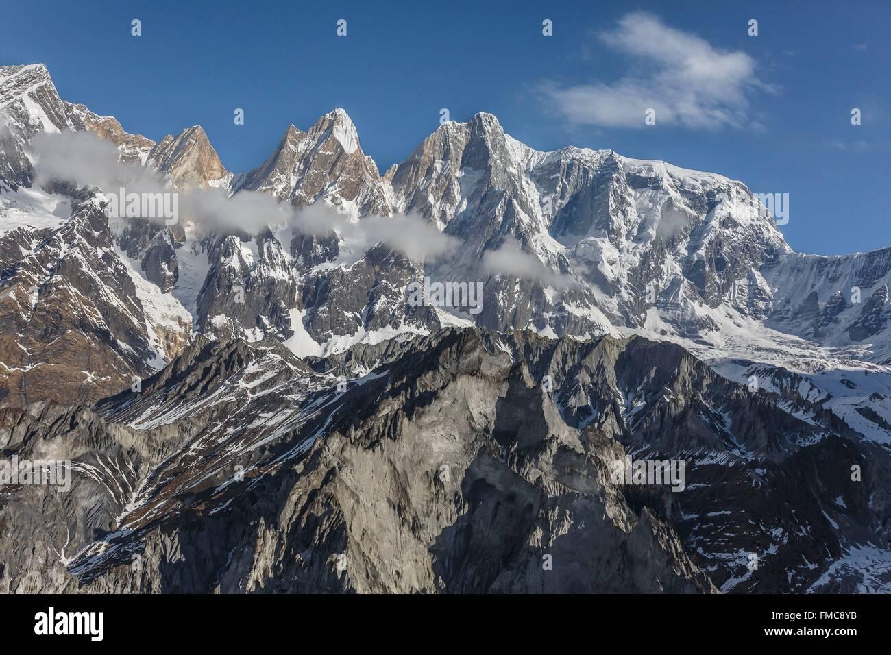 Nepal, Gandaki zone, Pokhara, Annapurna III 7555 m (aerial view) - Stock Image