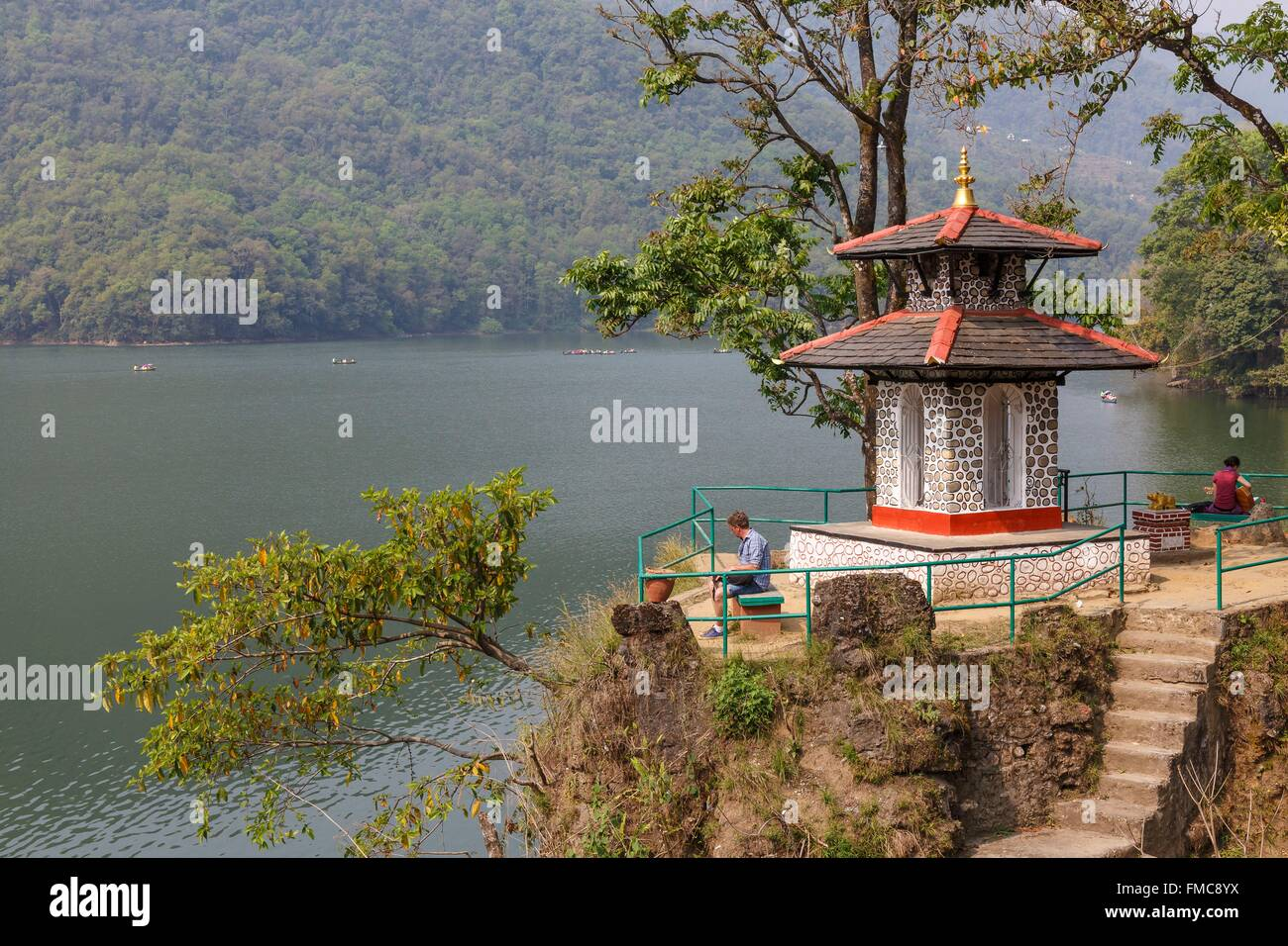 Nepal, Gandaki zone, Pokhara, temple on the Phewa lake - Stock Image