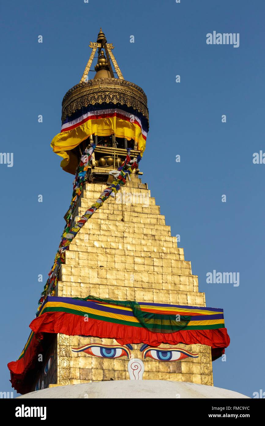 Nepal, Bagmati zone, Boudhanath, listed as World Heritage by UNESCO, stupa summit - Stock Image