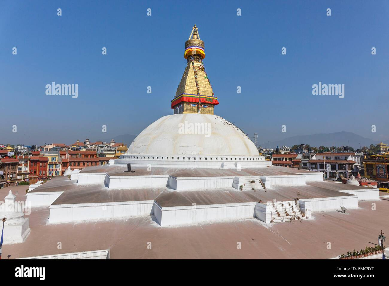 Nepal, Bagmati zone, Boudhanath, listed as World Heritage by UNESCO, the stupa - Stock Image