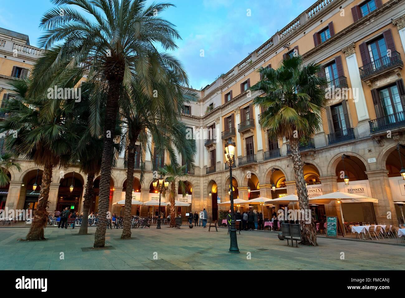 Spain, Catalonia, Barcelona, Placa Reial - Stock Image