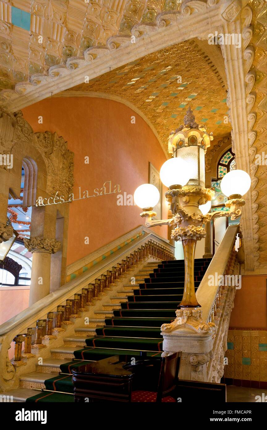 Spain, Catalonia, Barcelona, the Palau de la Musica Catalana (Palace of Catalan Music) listed as World Heritage - Stock Image
