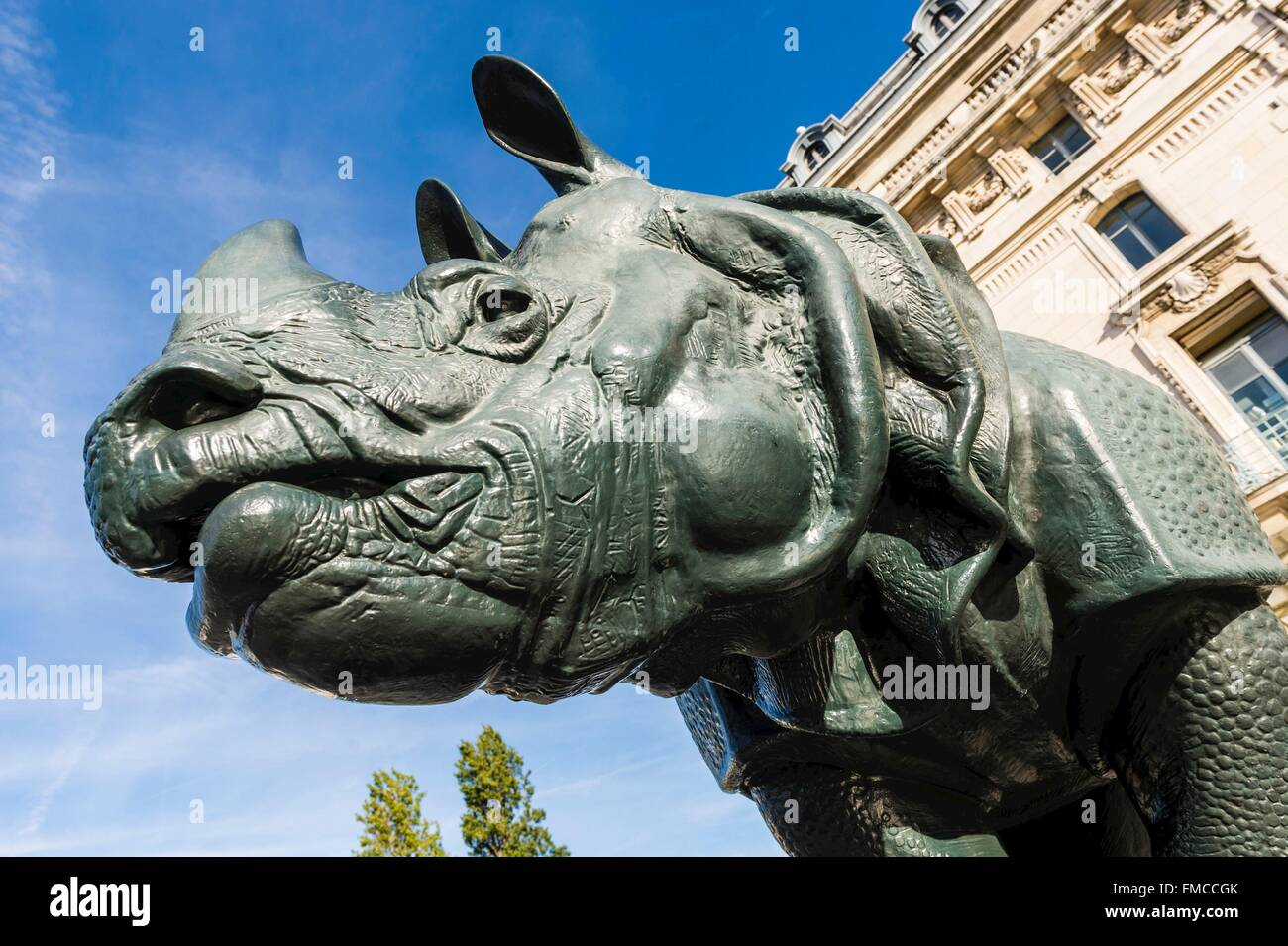 France, Paris, area listed as World Heritage by UNESCO, Musee d' Orsay, esplanade, Rhinoceros, sculpture by - Stock Image