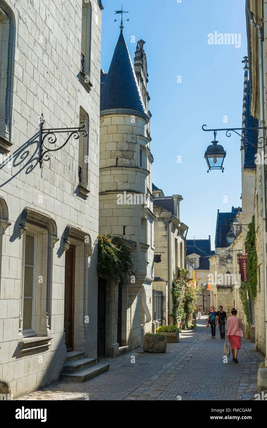 France, Indre et Loire, Loire valley listed as World Heritage by UNESCO, Chinon, the alleys at the foot of the fortress, Stock Photo