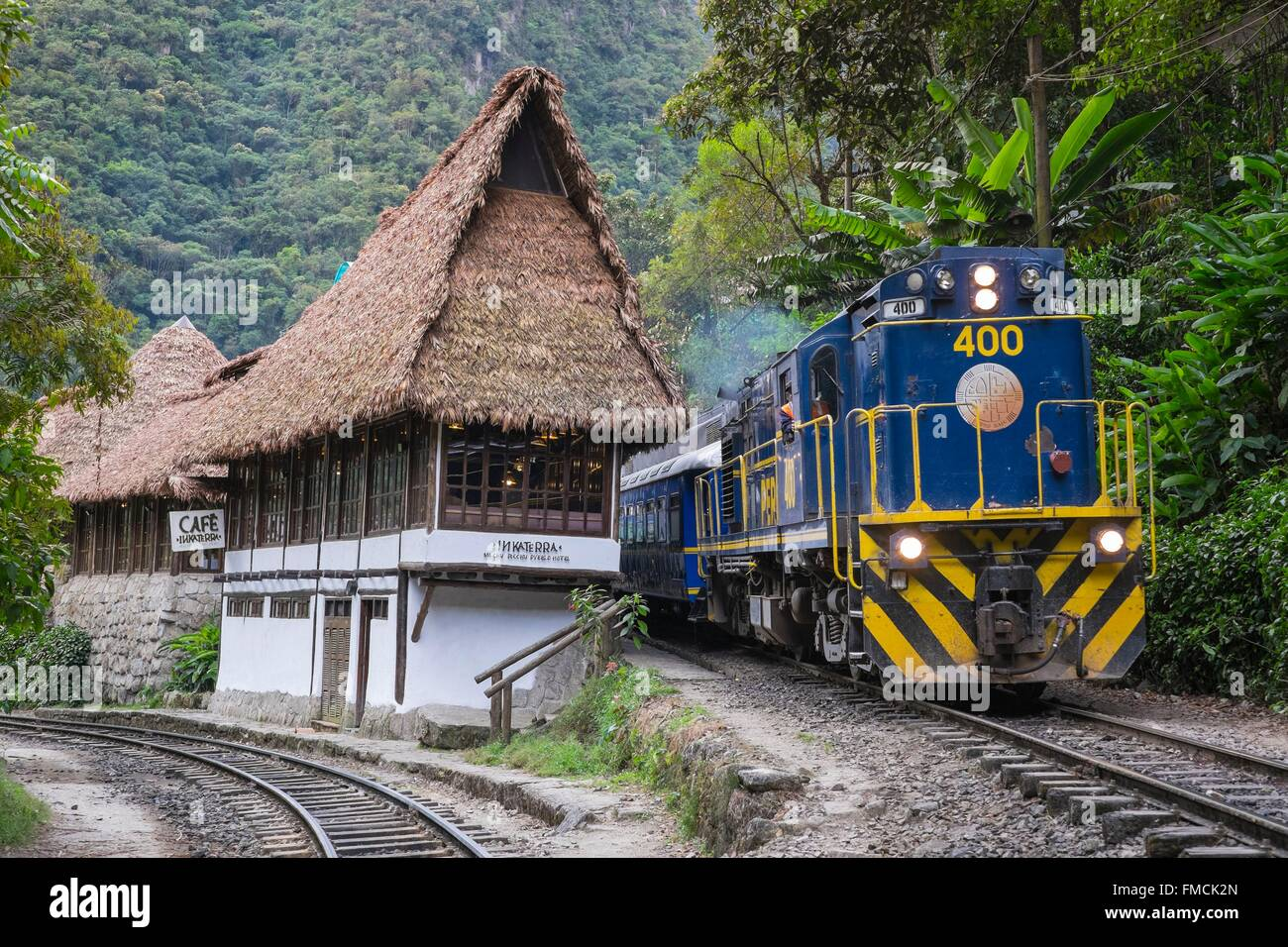 Peru, Cusco Province, Incas Sacred Valley, Aguas Calientes, the train leading to the foot of the Inca archeological Stock Photo