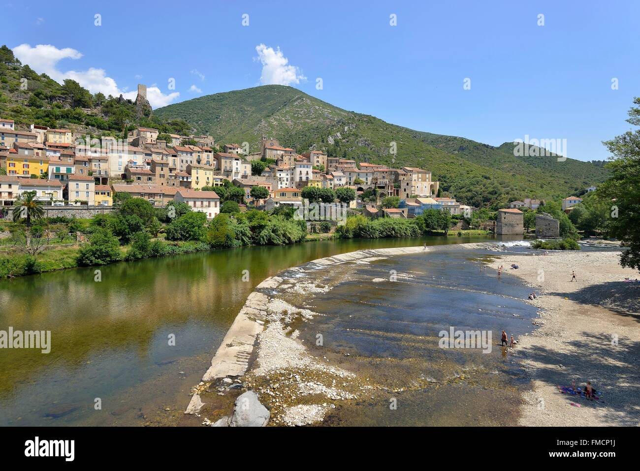 France, Herault, Orb valley, Roquebrun village and Orb River - Stock Image