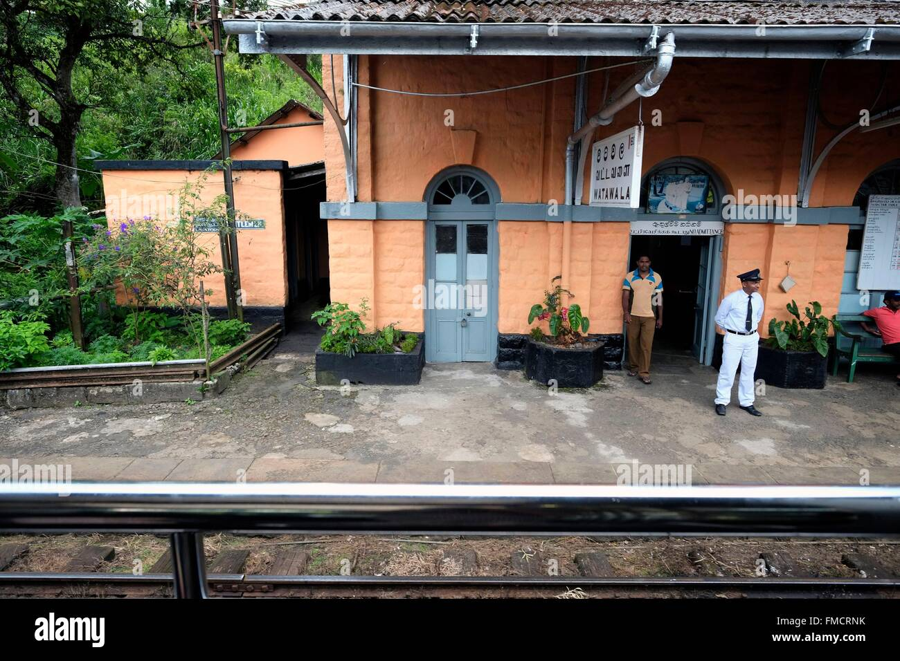 Sri Lanka, train Ella-Colombo, the small station of Watawala on the Ella-Colombo line Stock Photo