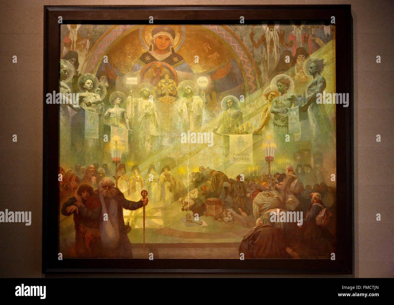 Part of the of the exhibition of the 'Slav Epic' ('Slovanska Epopej'), of Alphonse Mucha in Veletrzni - Stock Image