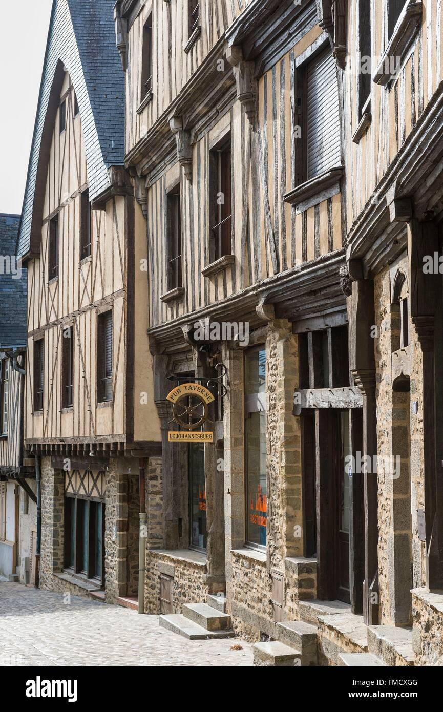 France, Mayenne, Laval, the old city, Trinity street - Stock Image