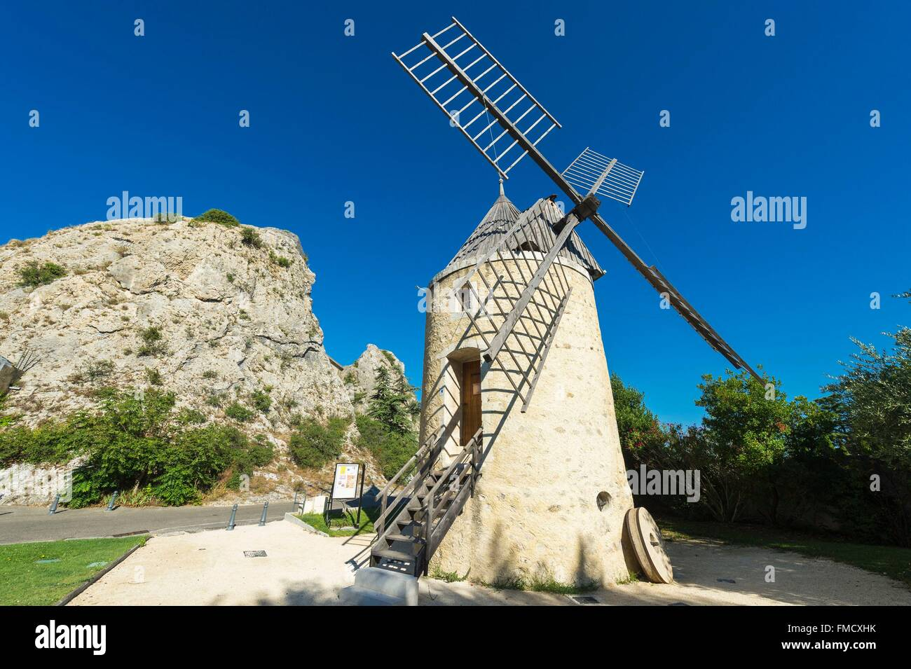 France, Drome, Pierrelatte, Wind Mill built around 1839 and the Rock - Stock Image