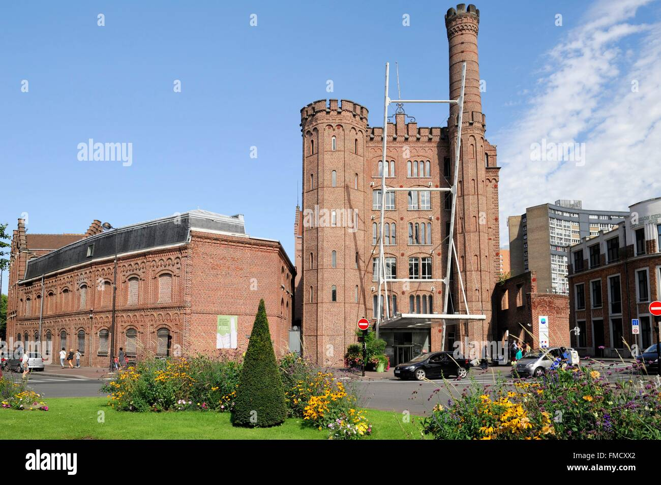 France, Nord, Roubaix, old factory Motte Bossut hosting the National Archives of the working world today - Stock Image
