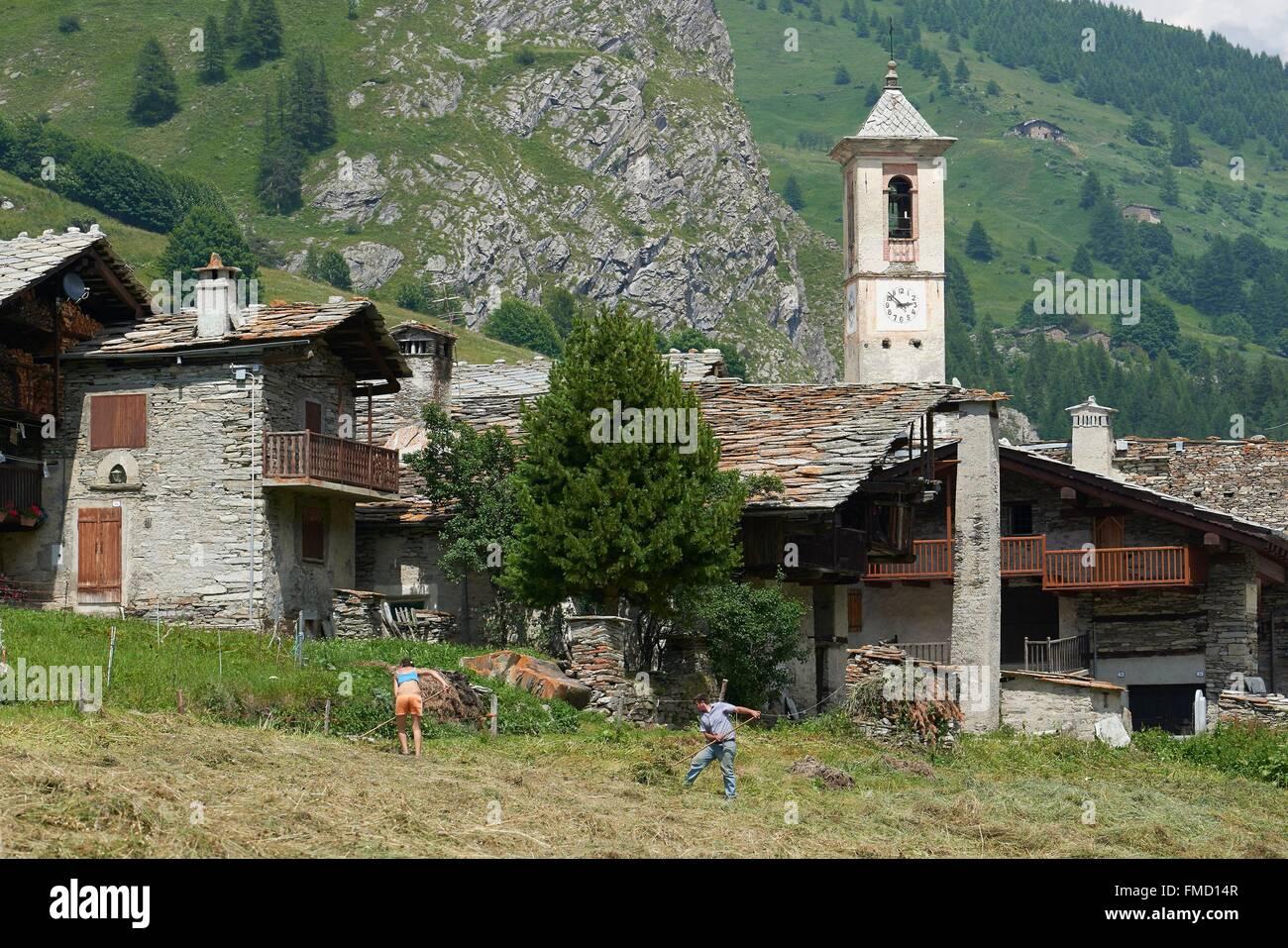 Italy, Piemont, Val Varaita, Chianale, church - Stock Image