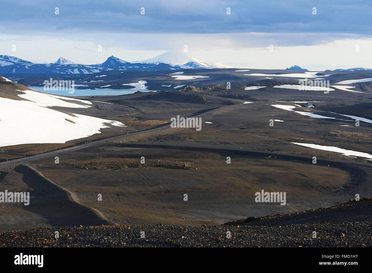 Iceland, Golden Circle, wild landscape with lava field, Hekla volcano - Stock Image