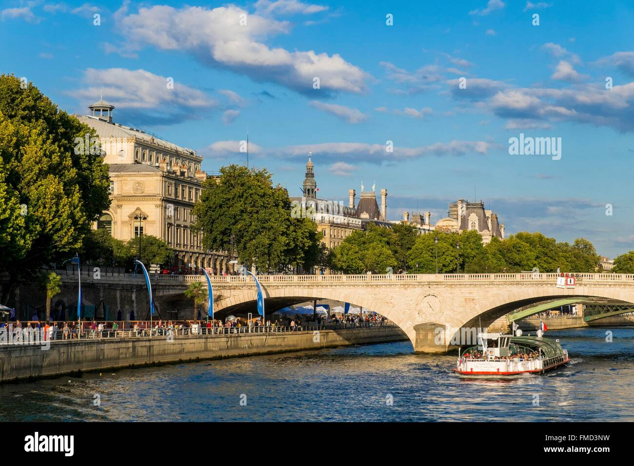 France, Paris, area listed as World Heritage by UNESCO and the Pont au Change - Stock Image