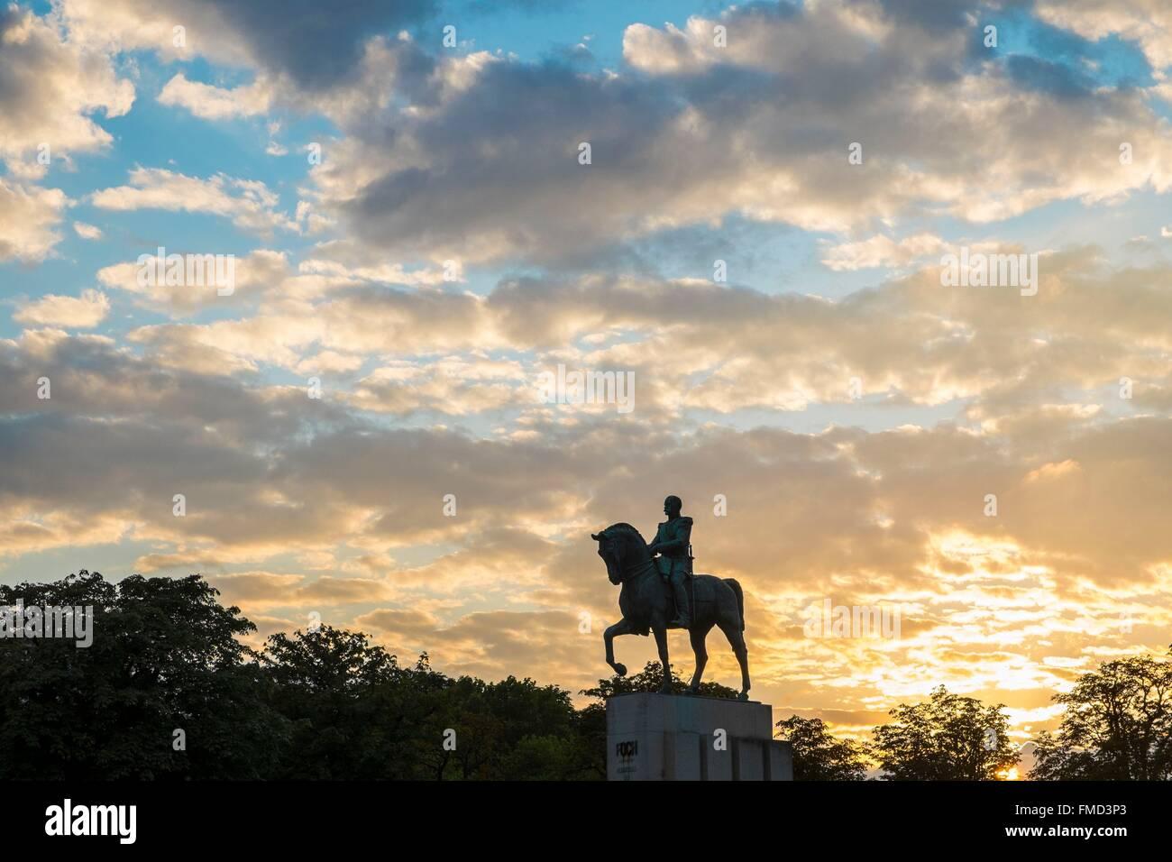 France, Paris, Trocadero Square, equestrian statue of Marshal Foch - Stock Image