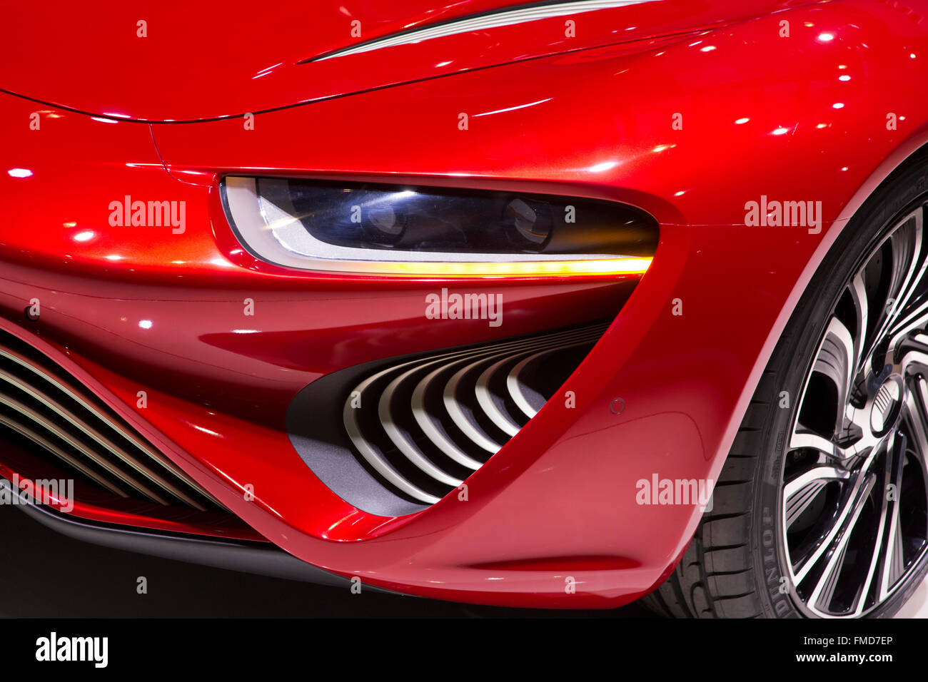 NanoFlowcell QUANT FE electric flow cell car at the Geneva Motor Show 2016 - Stock Image