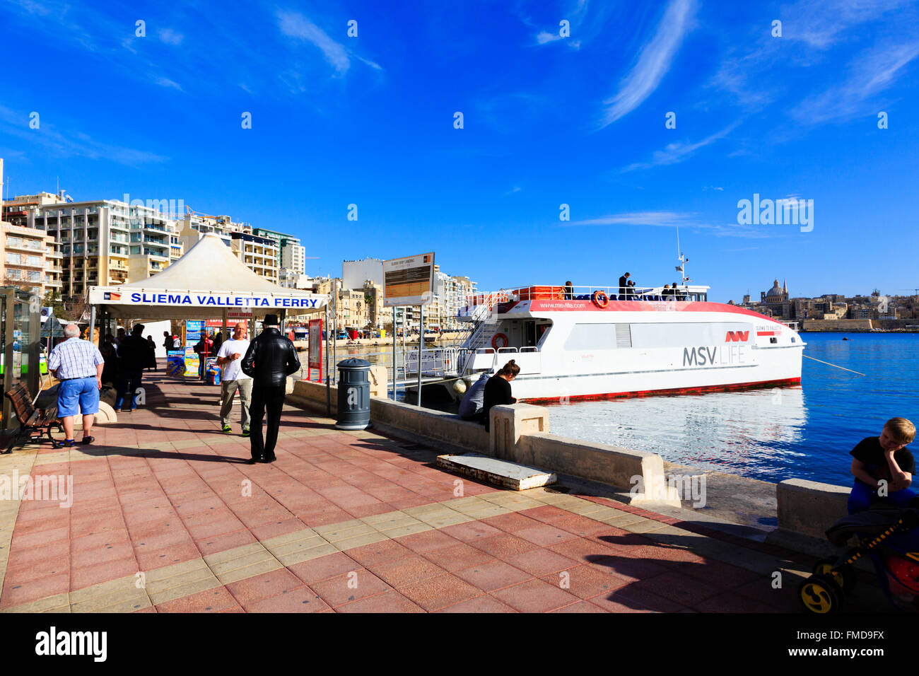 Sliema - Valletta ferry 'Topcat One' waiting to passengers to board at the Sliema pick up. - Stock Image