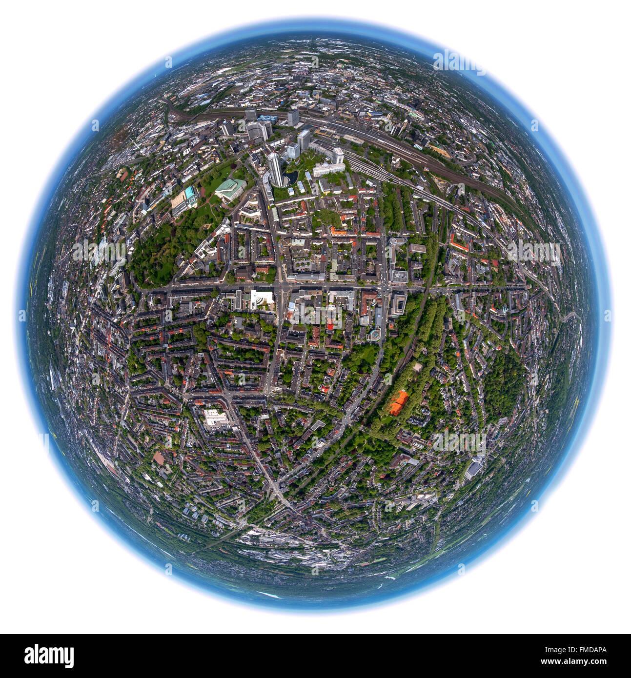 Aerial view, fisheye, Essen, Ruhr district, North Rhine-Westphalia, Germany - Stock Image