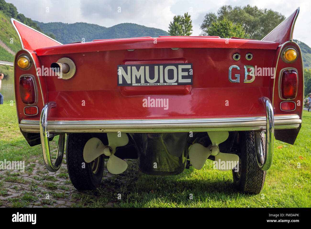Twin propellers mounted at the rear of a red amphibious car, Amphicar from the 1960s, Moselle, Bruttig-Fankel - Stock Image