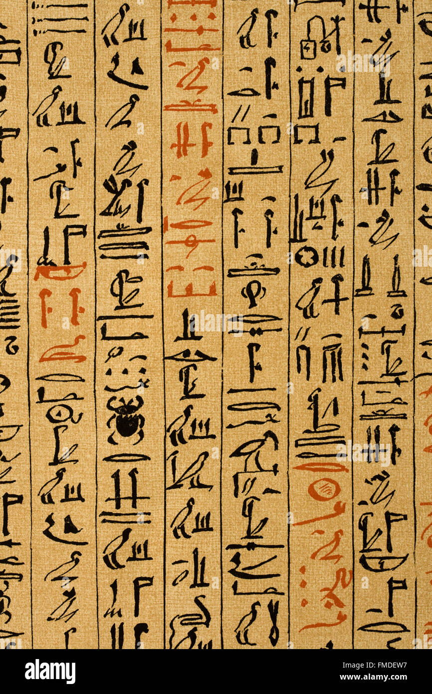 Lithograph Of Egyptian Hieroglyphs On Papyrus