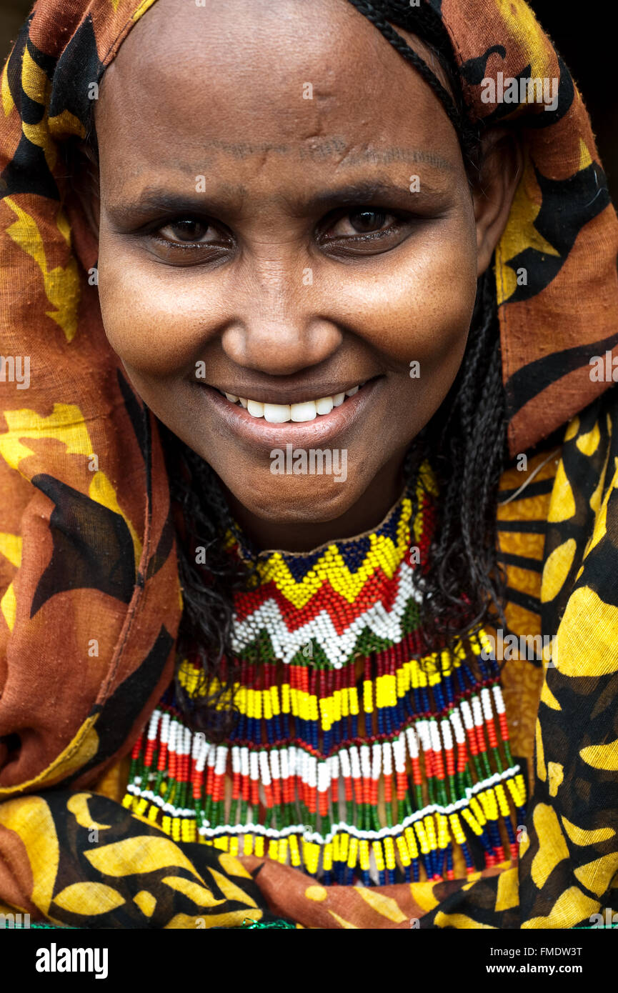 Woman belonging to the Afar tribe ( Ethiopia) - Stock Image