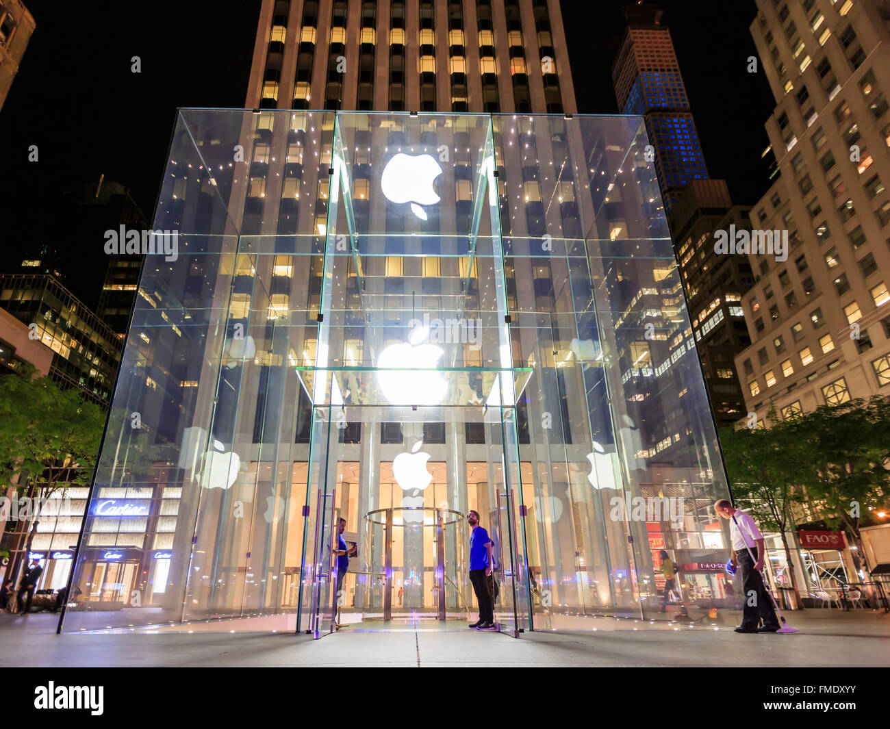 NEW YORK CITY, SEP 16: The famous Apply Store around night on SEP 16, 2014 at New York City. Stock Photo