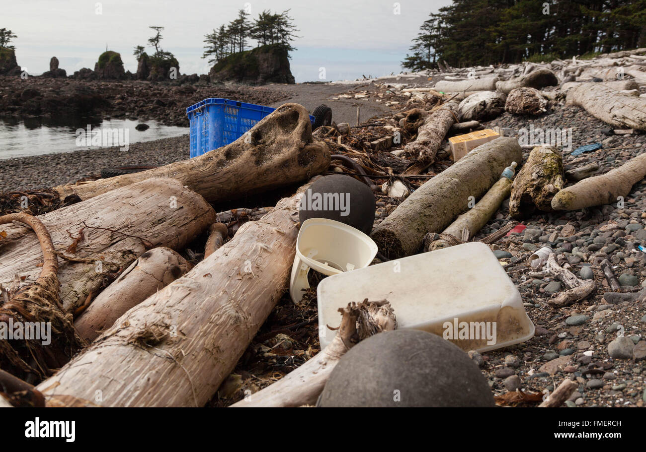 Plastic Washed up at remote beach, Cape Scott Provincial Park, Vancouver Island, British Columbia - Stock Image
