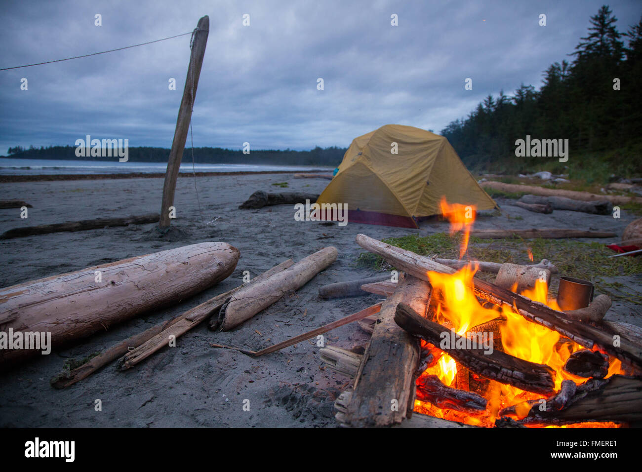 Backcountry Camping at Nels Bight, Cape Scott Provincial Park, Vancouver Island, British Columbia - Stock Image