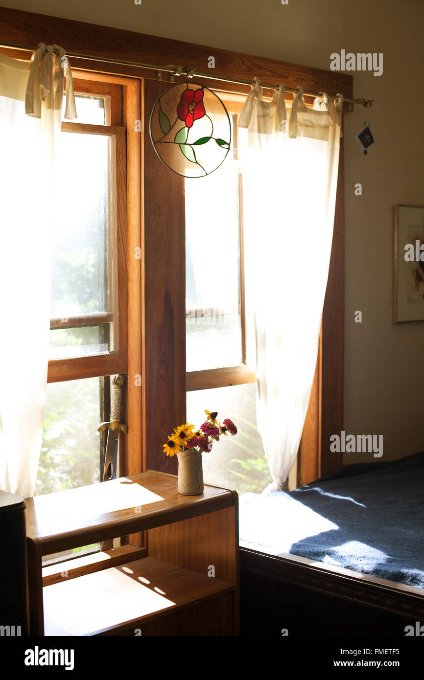 A vase of Zinnias in front of a sunny window. - Stock Image