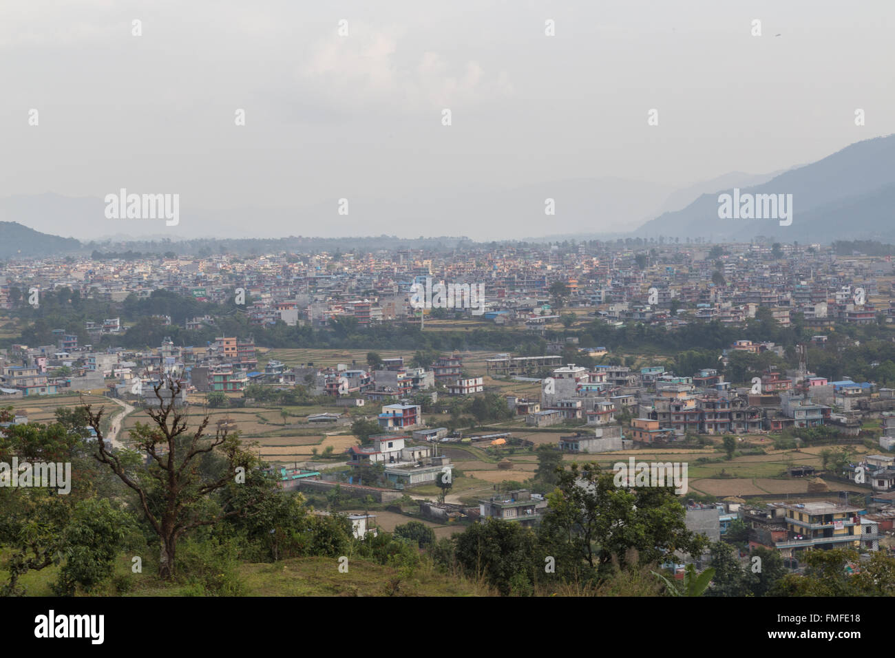 Aerial view over the Nepalese city Pokhara. - Stock Image