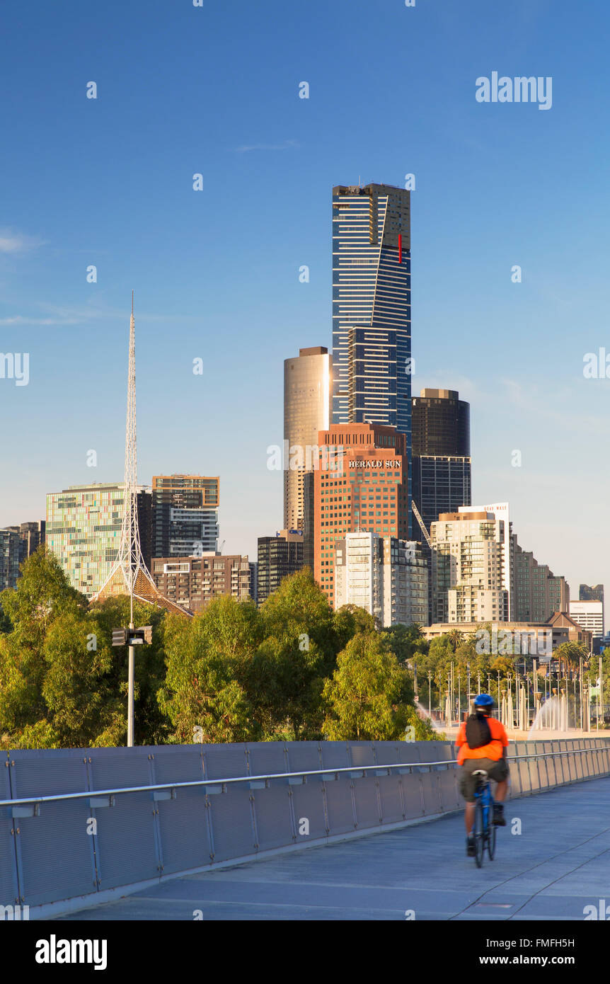 Skyline from William Barak Bridge, Melbourne, Victoria, Australia - Stock Image