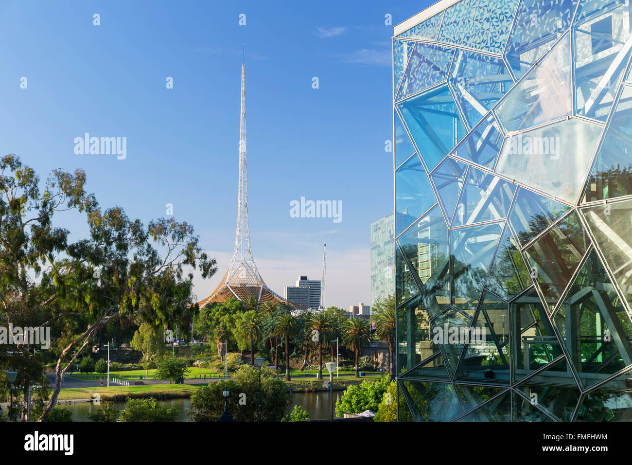 Victorian Arts Centre and Federation Square, Melbourne, Victoria, Australia - Stock Image