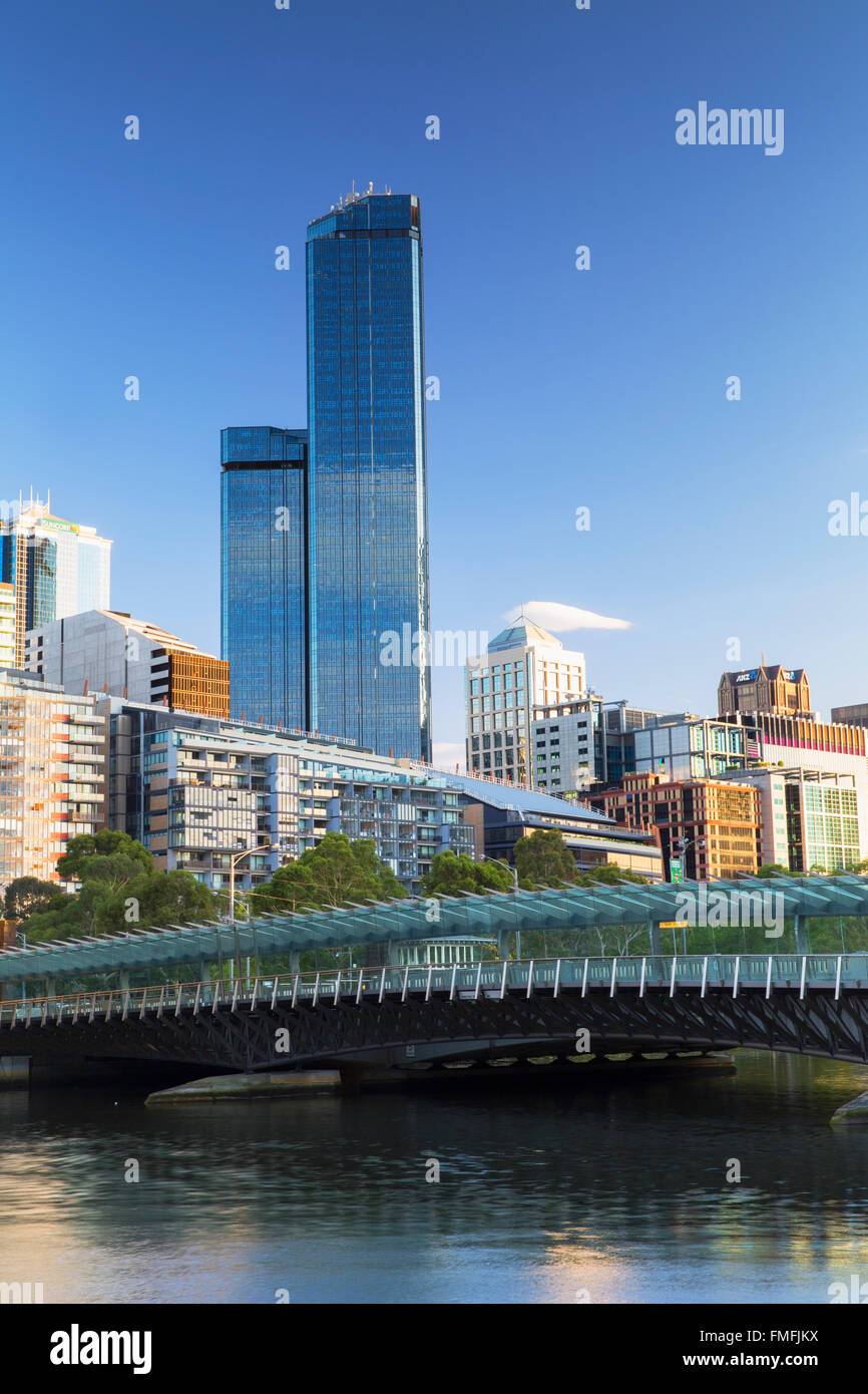 Rialto Towers and skyline along Yarra River, Melbourne, Victoria, Australia - Stock Image