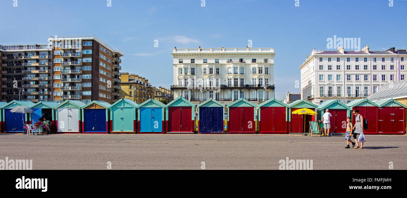 Brighton and Hove regency / Edwardian / Victorian architecture, illustrating it's past. beach huts UK Stock Photo